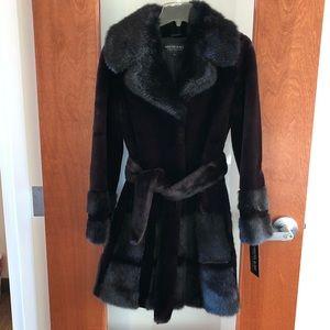 NWT! Black Faux Fur coat, Kristen Blake XS